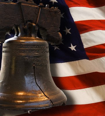 Liberty Bell and American Flag
