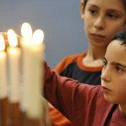 Lighting the menorah